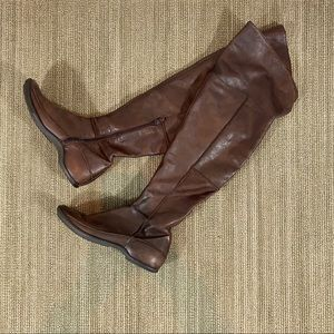 Over the Knee Brown Leather Boots